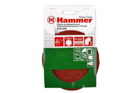Купить Шлиф. круг самосцепл. Hammer Flex 214-008 Д125мм 8отв. Р 220, набор 5 шт