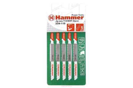 Купить Пилка для лобзика Hammer Flex 204-119 JG WD T101BRF (5pcs) деревопластик, 74мм, шаг 2.5, BiM, 5шт