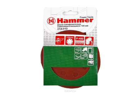 Купить Шлиф. круг самосцепл. Hammer Flex 214-012 Д125мм 8отв. Р 400, набор 5 шт