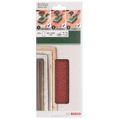 Купить Набор шлифовальных листов Bosch, 93 х 230 мм, зерно 60/120/180, 10 шт