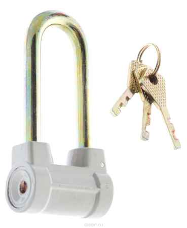 Купить Замок навесной с удлиненной дужкой КонтрФорс, цилиндрический, 60 мм, цвет: серый, золотистый