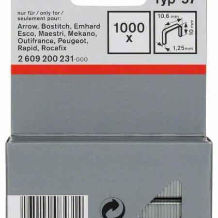 Купить Скрепки для степлера Bosch 1000 10/10.6мм тип 57 2609200231