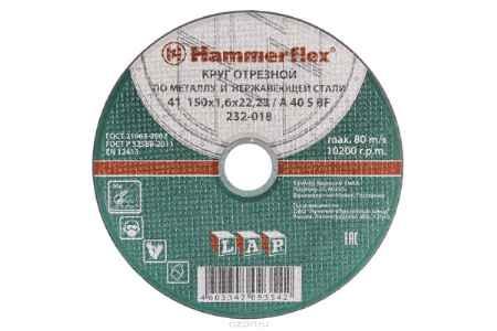 Купить Круг отрезной Hammer Flex 232-018 по металлу и нержавеющей стали A 40 S BF / 150 x 1.6 x 22,24
